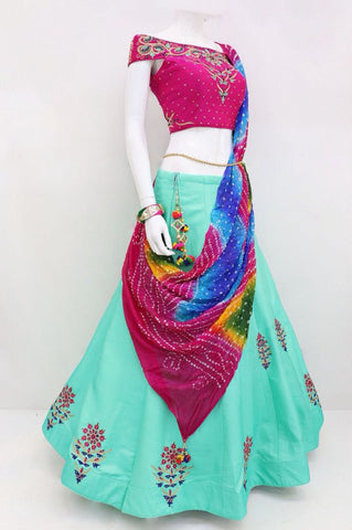 Powder Blue Silk  New Indian Ghagra Choli Designs Shop Online