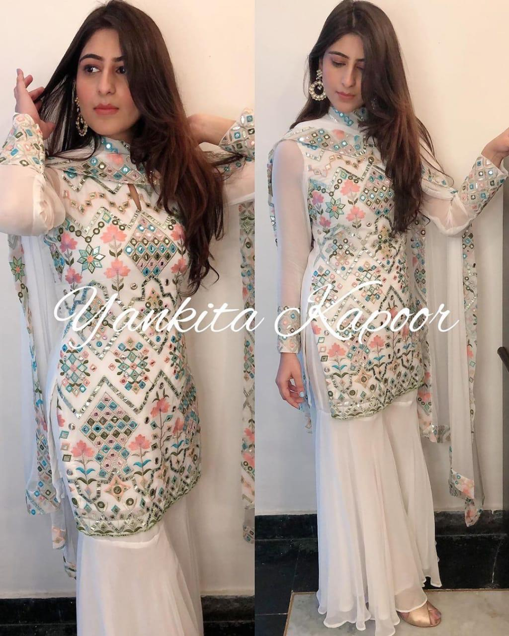 White Embroidered Georgette Top and Pallazo Set with Dupatta