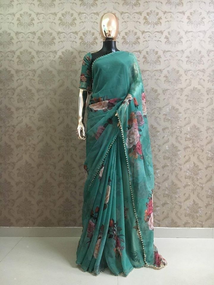 Green Georgette Digital Print Fancy Sarees Online Shopping India