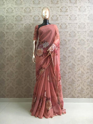 Peach Georgette Digital Floral Print New Party Saree India Online Shop