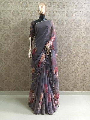 Grey Georgette Digital Floral Print Indian Sarees Online Purchase