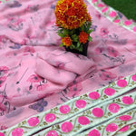 Baby Pink Floral Print Georgette Fancy Saree Online Shopping