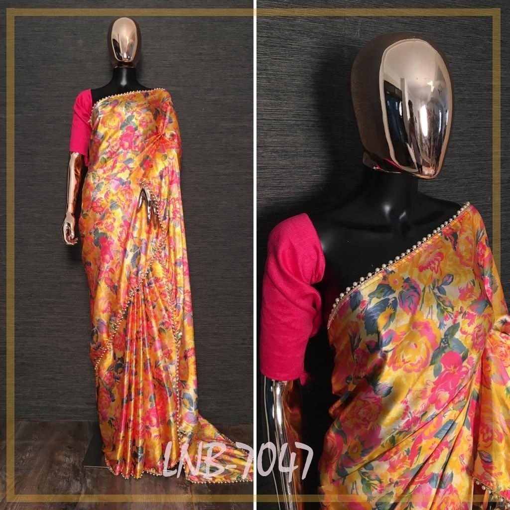 Mustard Satin Floral Print Pearl Lace Fancy Saree Online Shopping