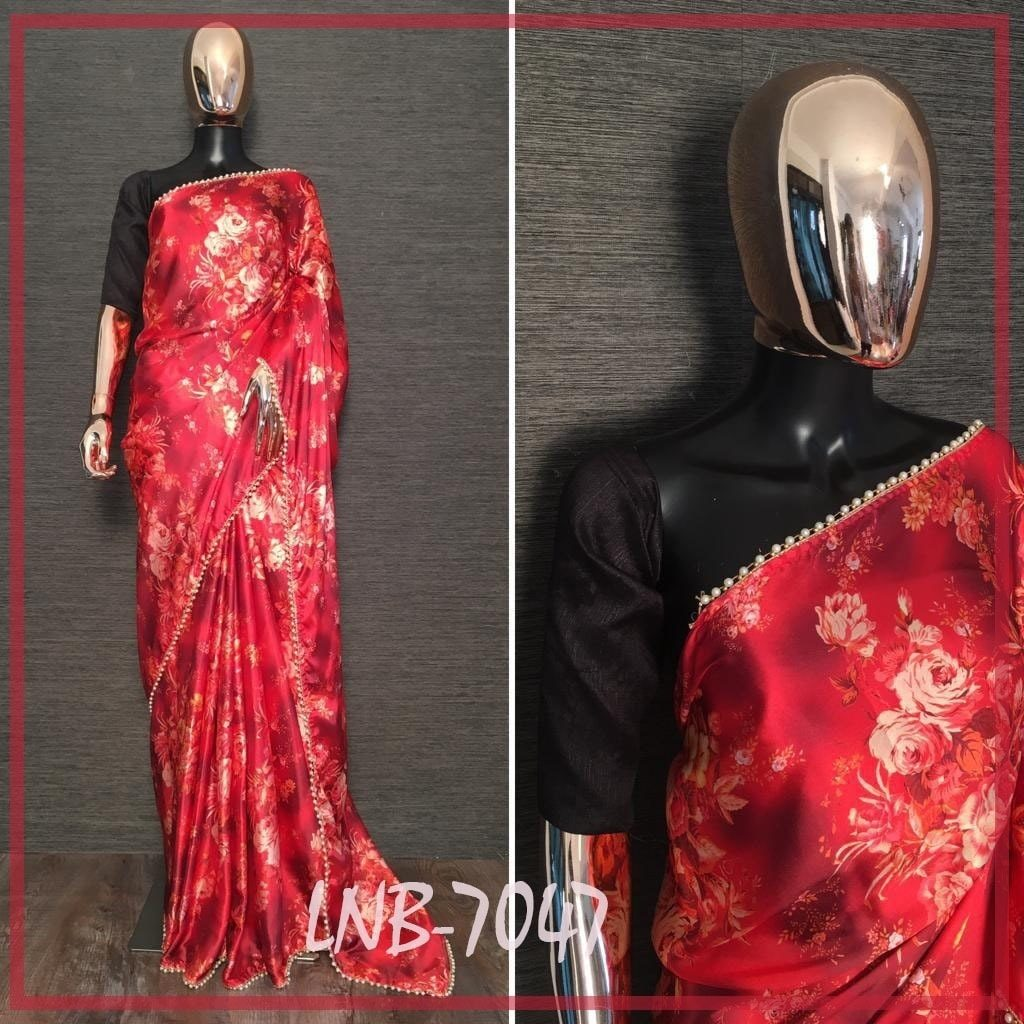 Red Satin Floral Print Pearl Lace Beautiful Sarees Online Shopping