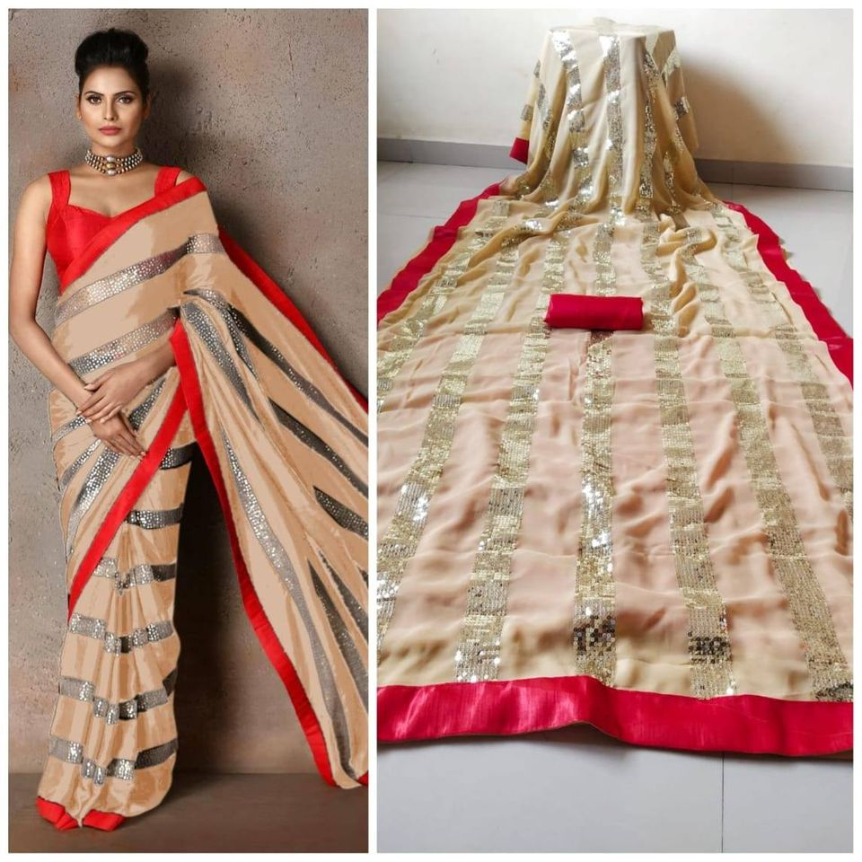 Beige Georgette And Sequins Fashion Sarees Online Shopping