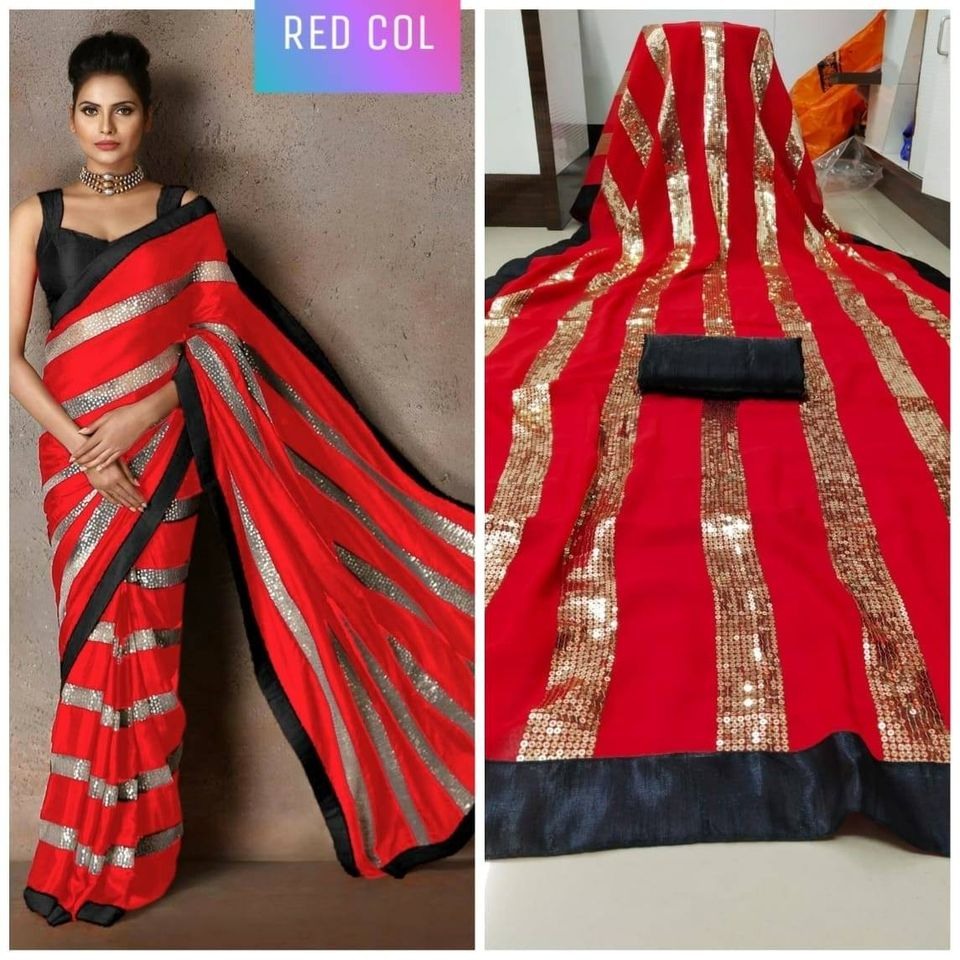 Red Georgette And Sequins Fancy Sarees With Price In India