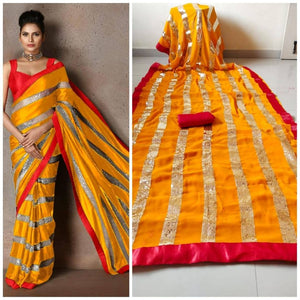 Orange Georgette And Sequins Fancy Saree Online Shopping