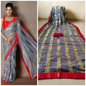 Grey Georgette And Sequins Online Shopping For Ladies Sarees