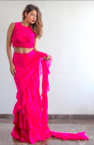 Pink Georgette Frill Ruffle Stylish Sarees Online Shopping