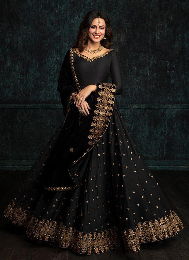 Black Taffeta Silk Embroidered Latest Party Dress Lengha Choli Online