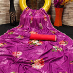 Wine Color Malai Satin Floral Print Pearl Lace Latest Sarees Online