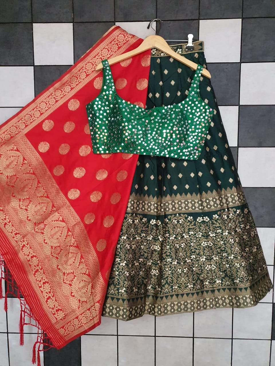 Black Banarasi  Paired With Matching Green Blouse Latest Lehenga Online Buy