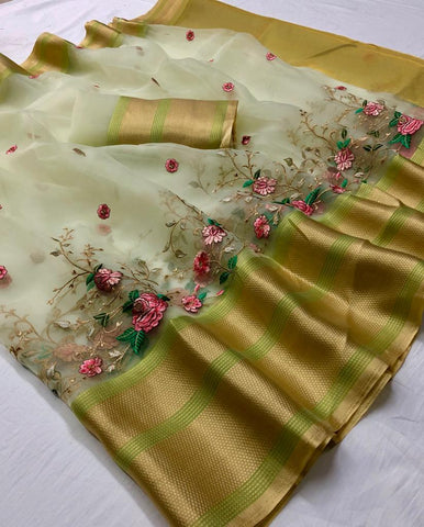 Cream Embroidered Organza Party Wear Womens Sarees Online Shopping Sites