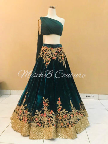 Bottle Green Velvet Embroidered Designer Replica Lehenga Online Shopping