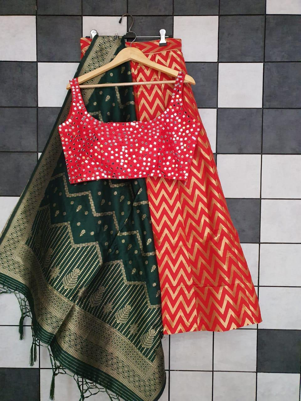 Red Banarasi Silk Zigzag Design Buy Lehenga Blouse Online In India