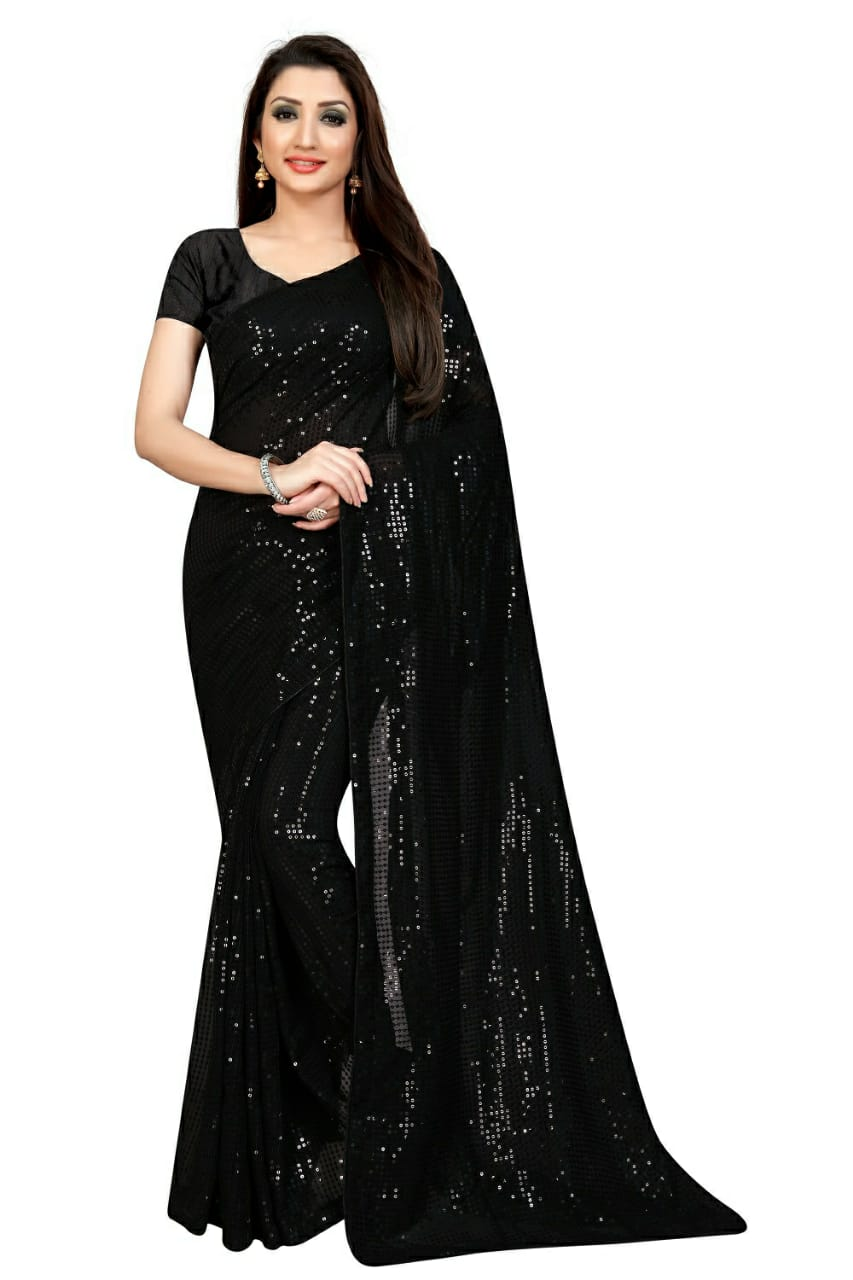 Black Georgette Sequins Fancy Sarees With Price In India