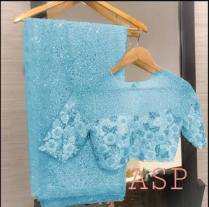 Light Blue Georgette Sequins Online Shopping For Ladies Sarees
