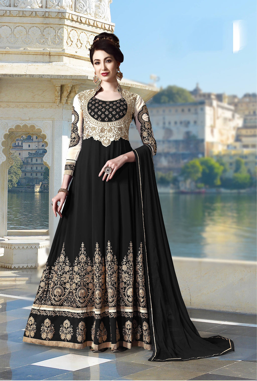 Black Georgette New Fashion Anarkali Salwar Kamiz Online Shopping