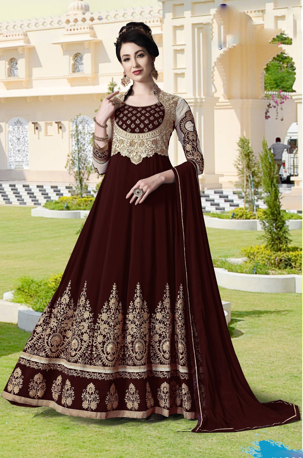 Maroon Georgette Anarkali Ladies Suit Online Shopping