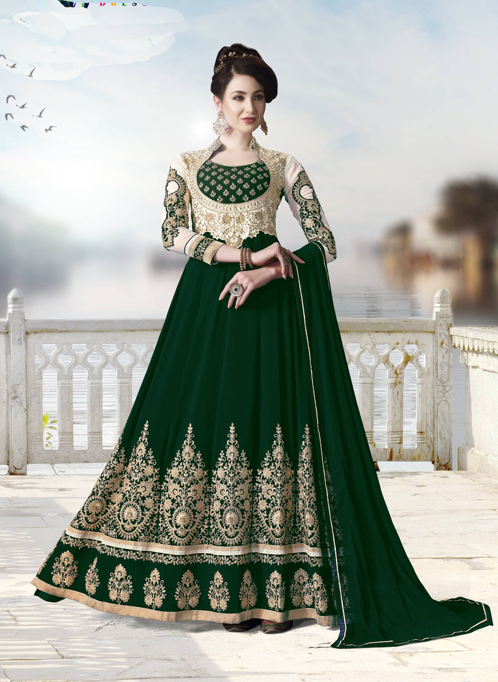 Dark Green Embroidered Party Wear Shop Anarkali Suits Online