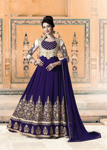 Blue Embroidered Party Wear Anarkali Salwar Suit Design
