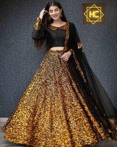 Yellow Gold Velvet Sequins Party Lehenga Choli Online Shop