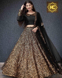 Black Sequins In Velvet Party Ghagra Choli Online Shopping