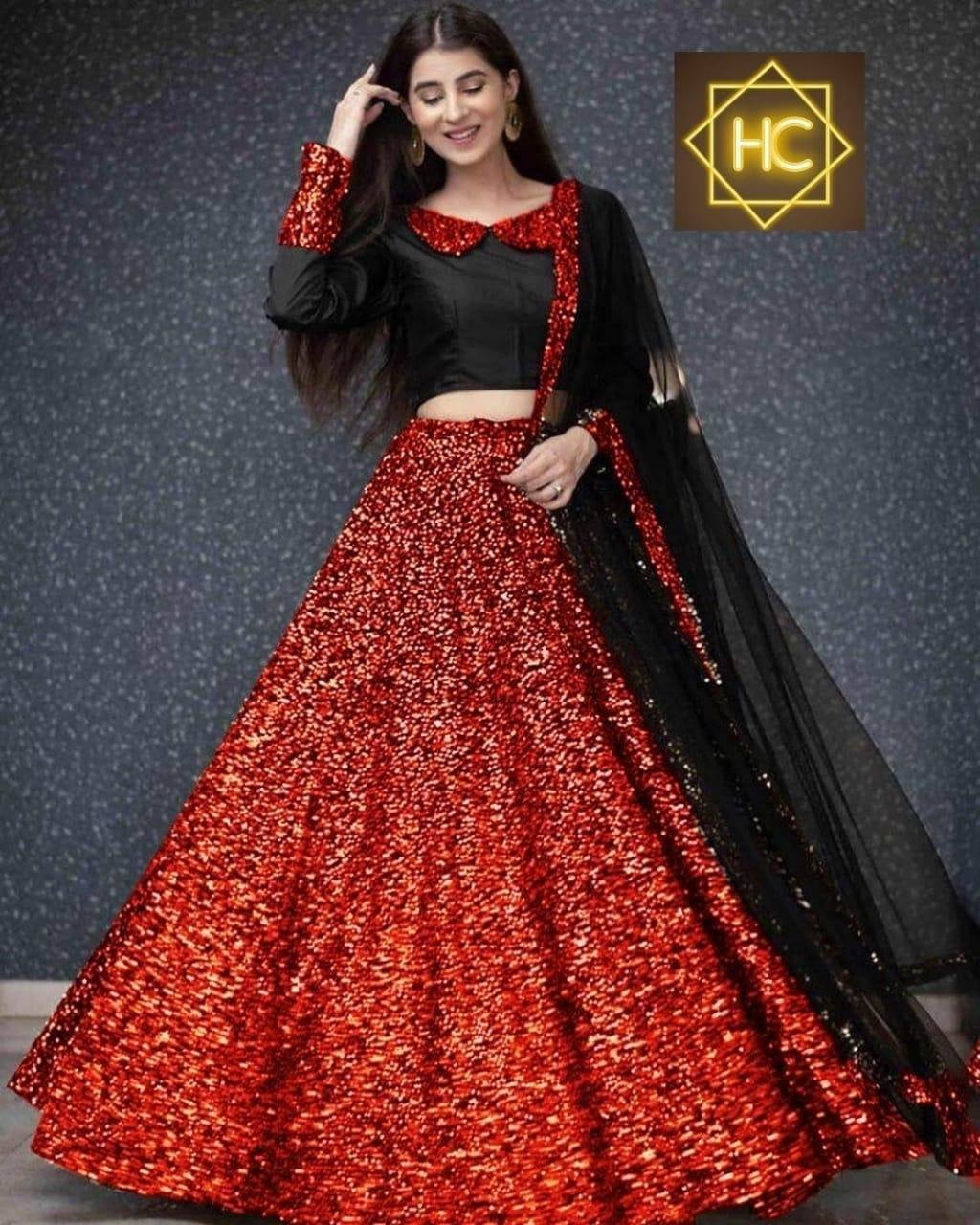 Red Sequins In Velvet Indian Party Lehenga Choli Online Buy