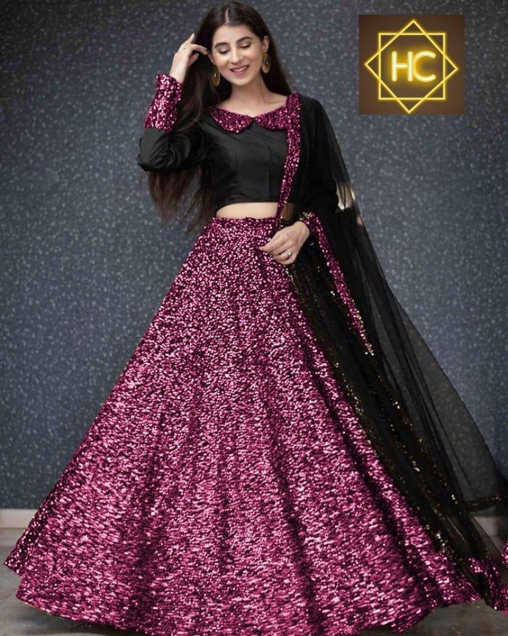 Pink Sequins In Velvet Latest Lehenga Choli Online Shopping