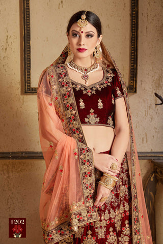 Maroon Embroidery Velvet Silk Beautiful Designs  Indian Bridal Lehenga