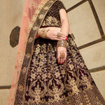 Dark Maroon Embroidery Velvet Silk Traditional Indian Wedding Lehenga