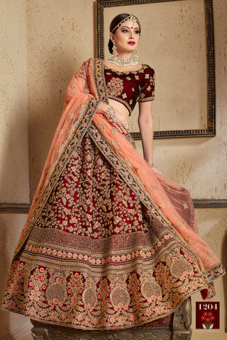 Maroon Embroidered Velvet Silk Traditional Bridal Wedding Lehenga India Online