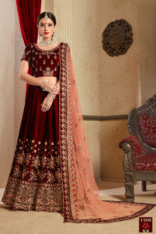 Maroon Velvet Silk Latest Wedding Wear Lehenga Choli Dress Online