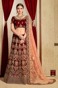 Maroon Embroidered Velvet Silk Traditional Bridal Lengha Cholis