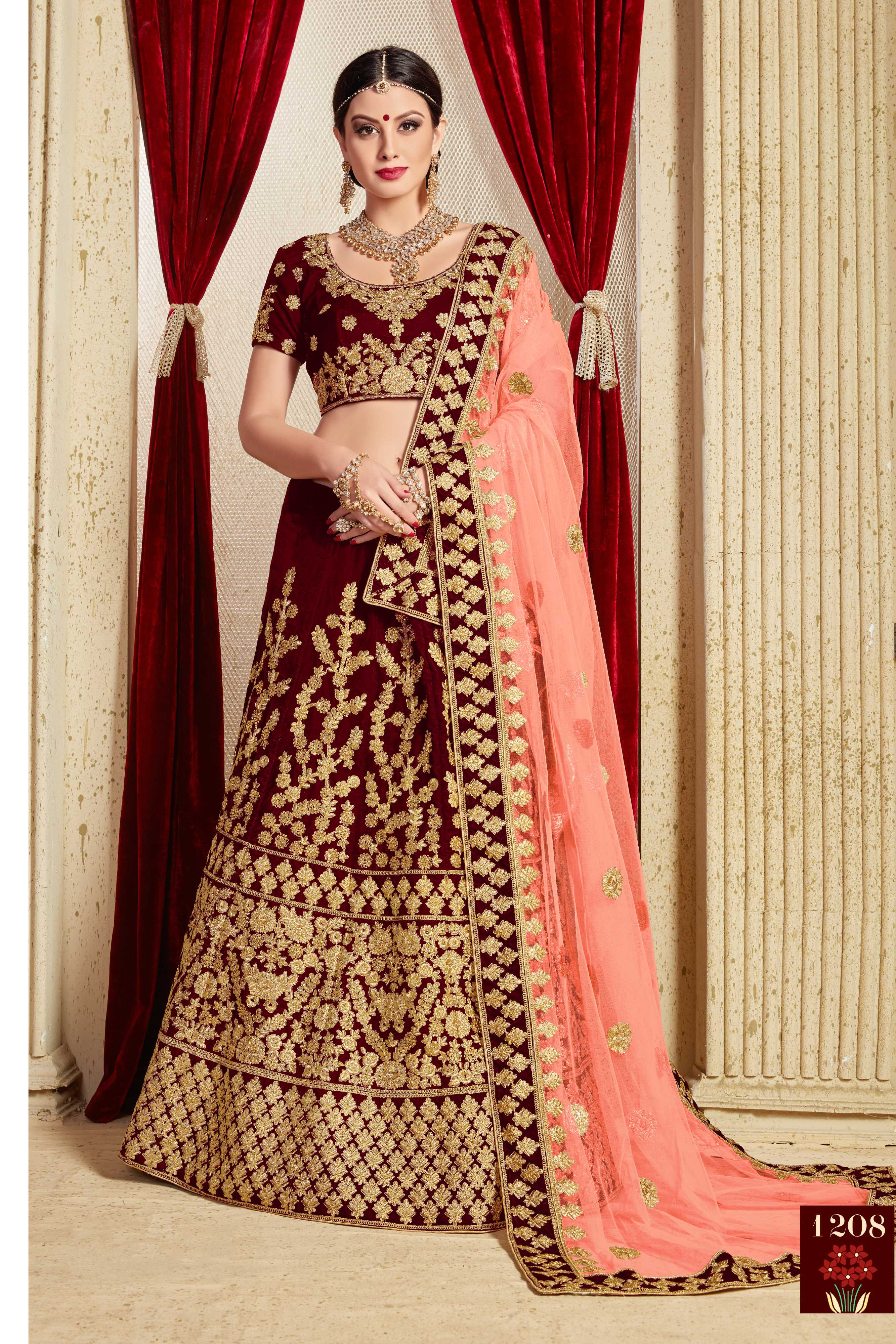 Maroon Embroidered Velvet Silk Indian Marriage Dresses Online