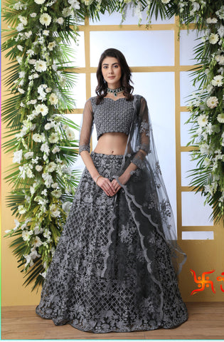 Grey Net Embroidered Marriage Lehenga Online Shopping
