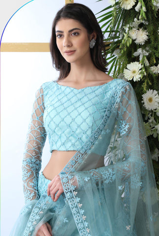 Pastel Blue Embroidered Net Lehengas For Wedding Online
