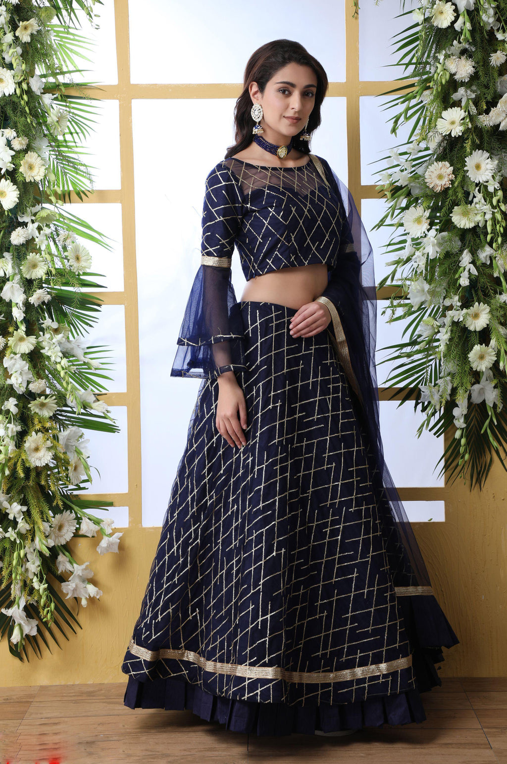 Navy Blue Net Embroidered New Party Ghagra Dress Online Shopping