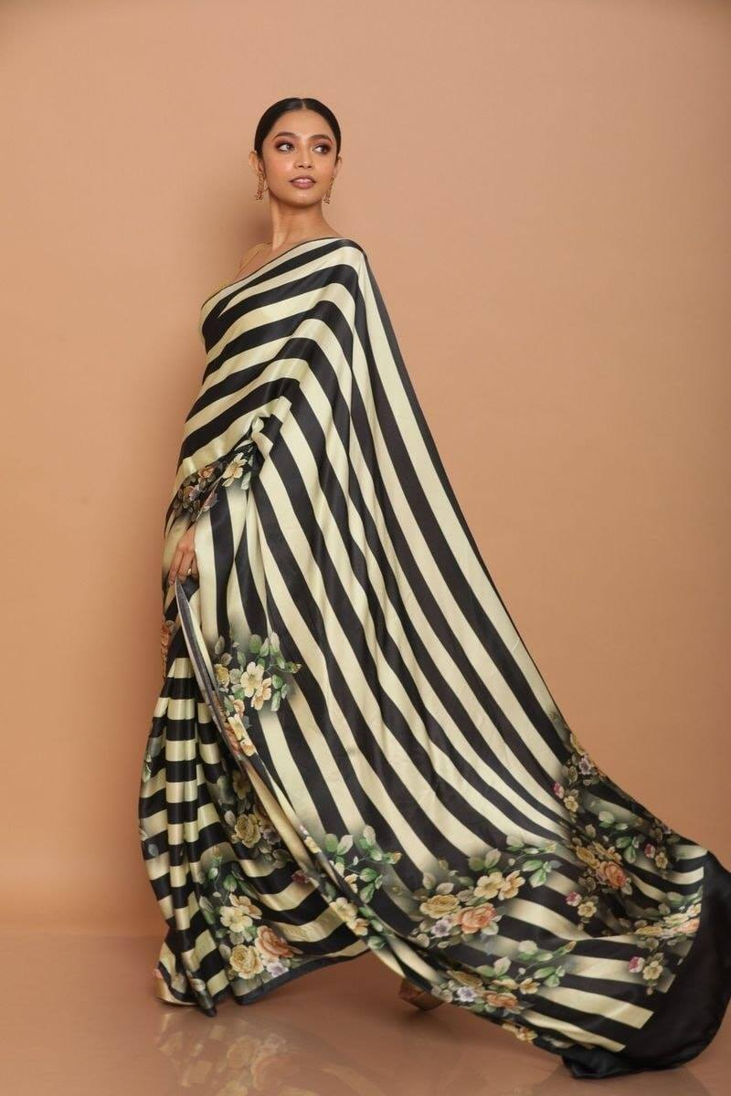 Black and White Striped With Floral Print Satin Silk Saree Buy