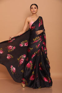 Black Floral Print Satin Silk Saree Online Shopping India
