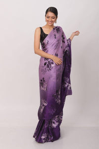 Lavender and Purple Shaded Floral Print Satin Silk Saree with Price