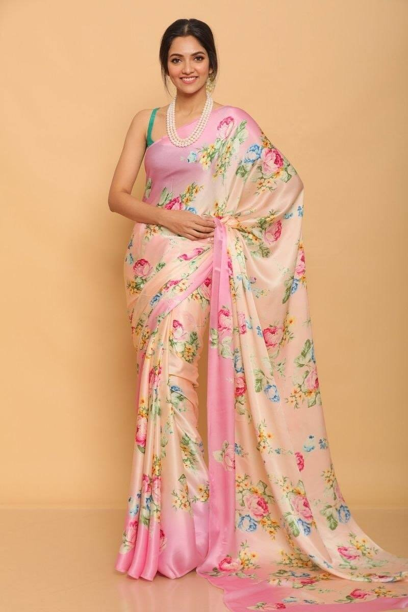 Peach and Pink Floral Print Satin Silk Saree Online