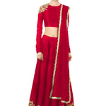 Classy Red Silk Bollywood Designer Wedding Lehngas ,Indian Dresses - 2