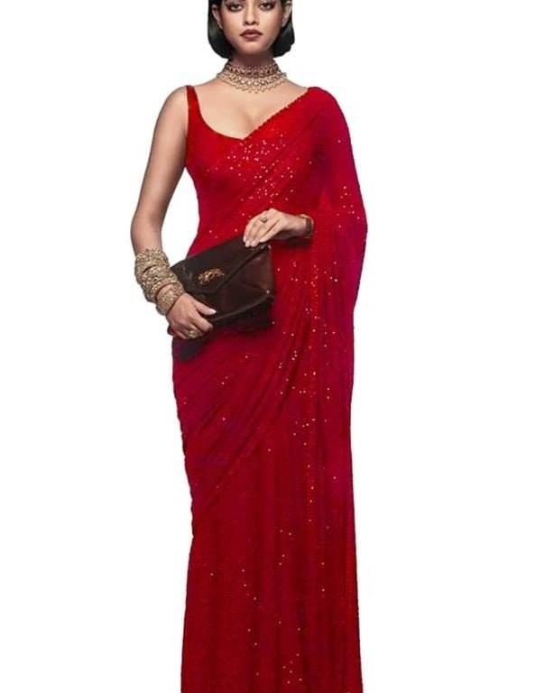 New Arrival High Quality Red Georgette Sequins Fancy Ladies Sarees Buy Online