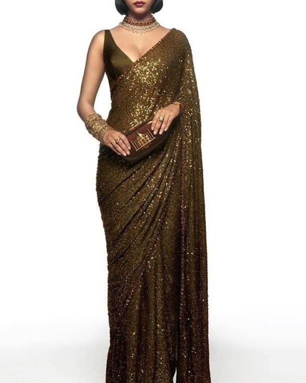 New Arrival High Quality Gold Georgette Sequins Fancy Ladies Sarees Buy Online
