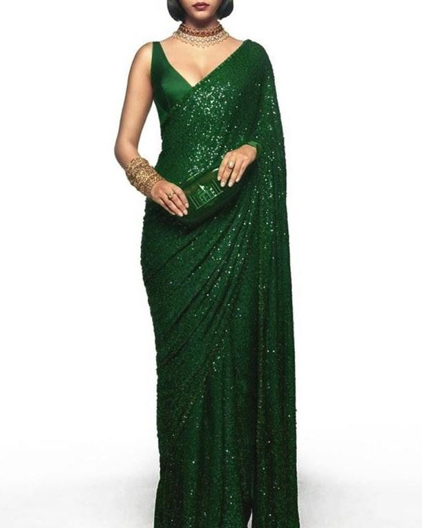 New Arrival High Quality Green Georgette Sequins Fancy Ladies Sarees Buy Online