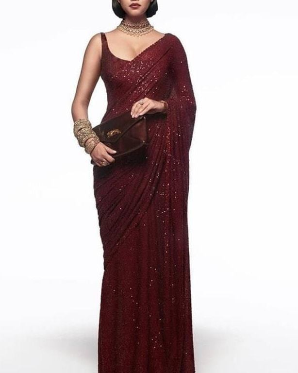 New Arrival High Quality Maroon Georgette Sequins Fancy Ladies Sarees Buy Online