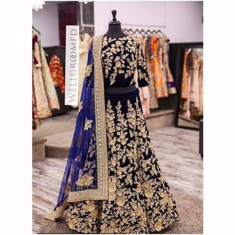 Trendy Dark Blue Indian Lehenga Choli For Wedding ,Indian Dresses - 2