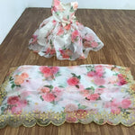 Beautiful White Floral Organza Saree blouse set with Matching Kids gowns