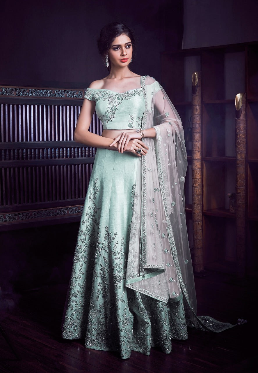 Light Mint Green Silk Embroidered Indian Dress Lehenga Choli
